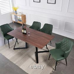 Wooden Dining Table and 6 Chairs Faux Leather Seat Kitchen Home Furniture Set UK