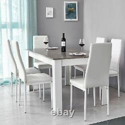 Wooden Dining Table and 6 Faux Leather Chairs Set Grey&White Kitchen Furniture