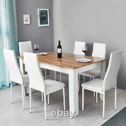 Wooden Dining Table and 6 Faux Leather Chairs Set Oak&White Kitchen Furniture