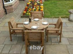Wooden Garden Furniture 1.1 Metre Round Table And 4 Chairs Fully Assembled