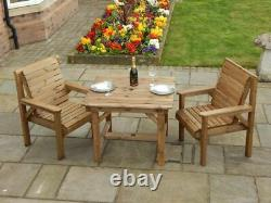 Wooden Garden Furniture 3ft Square Table And 2 Chairs Fully Assembled