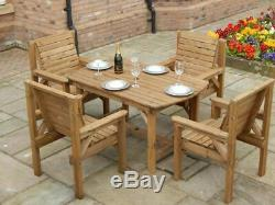 Wooden Garden Furniture 4 Feet 6 Inch Table and 4 Chairs Patio Set assembled New