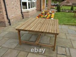 Wooden Garden Furniture 5ft Square Table With 2 Benches And 4 Chairs