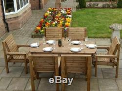 Wooden Garden Furniture Patio Garden Set 6 Ft Table And 6 Chairs Full Assembled