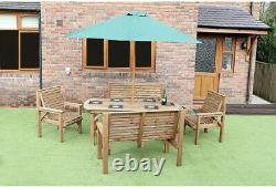 Wooden Garden Furniture Patio Garden Set 6ft Table 2 Benches And 2 Chairs