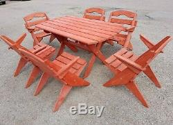 Wooden Garden Furniture, Solid Wood, Folding Table And 6 Folding Chairs