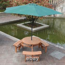 Wooden Garden Round Table and 3 Bench Seat Chairs Outdoor Patio Furniture Set