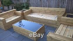 Wooden Garden Sofa, 2 X Side Chairs, 2 X Side Tables And A Central Table