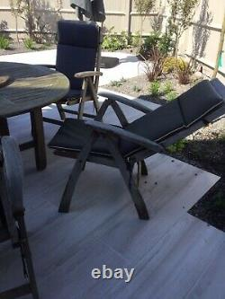 Wooden Garden Table And 6 Reclining Cushion Chairs, Lazy Susan, Parasol And Base