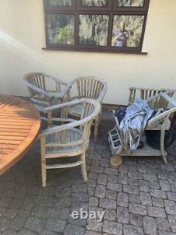 Wooden garden furniture table and chairs