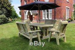 Wooden garden table and chairs bench set solid patio furniture tanalised (ERG8)